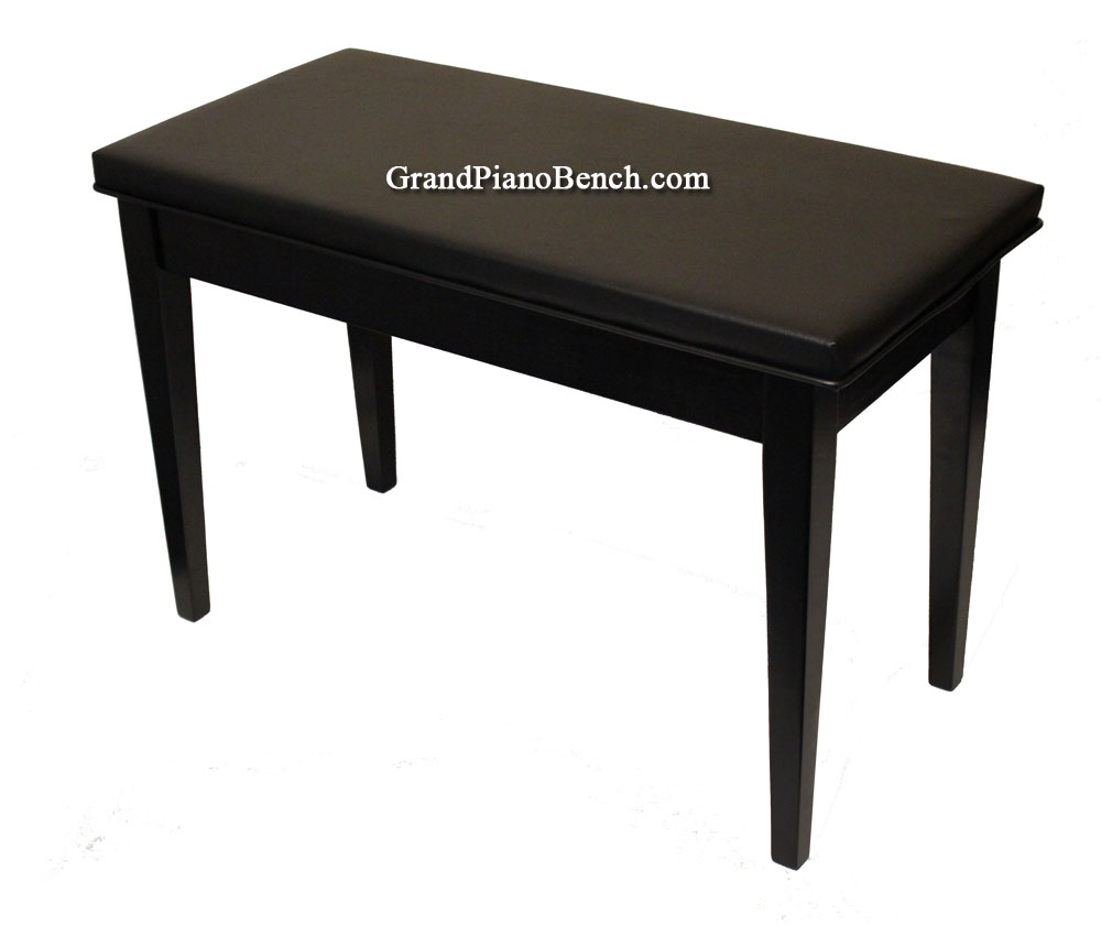 black grand piano bench with upholstered vinyl top