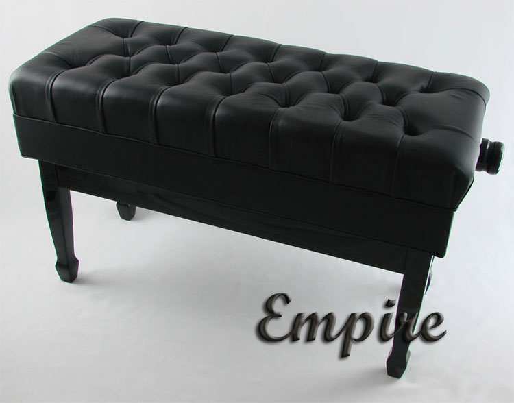 Empire Leather Duet Adjustable Artist Piano Bench Black Leather High Gloss  Finish