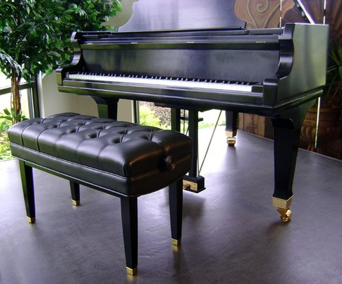 black jansen duet artist bench with grand piano