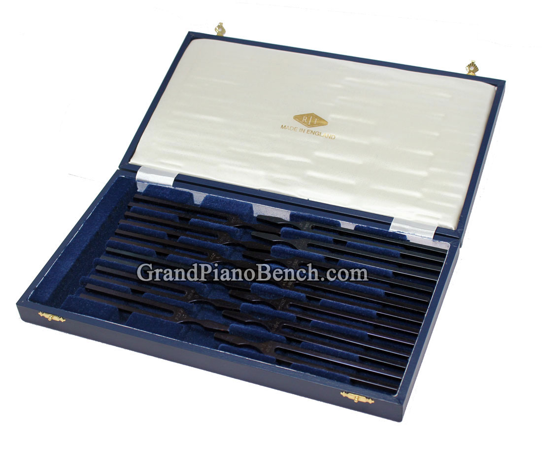 John Walker Piano Tuning Fork Set Of 13 Blued Steel Forks
