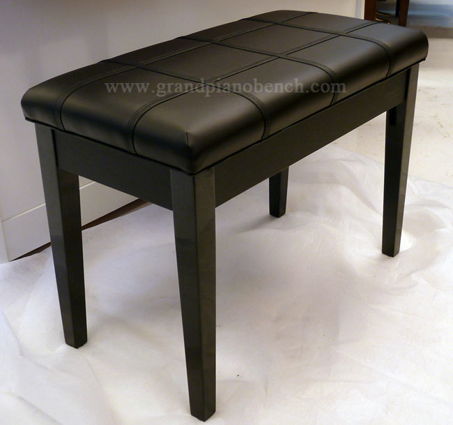 padded piano bench ebony finish flat upholstered top