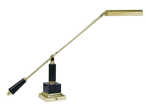 brass piano lamp with black marble