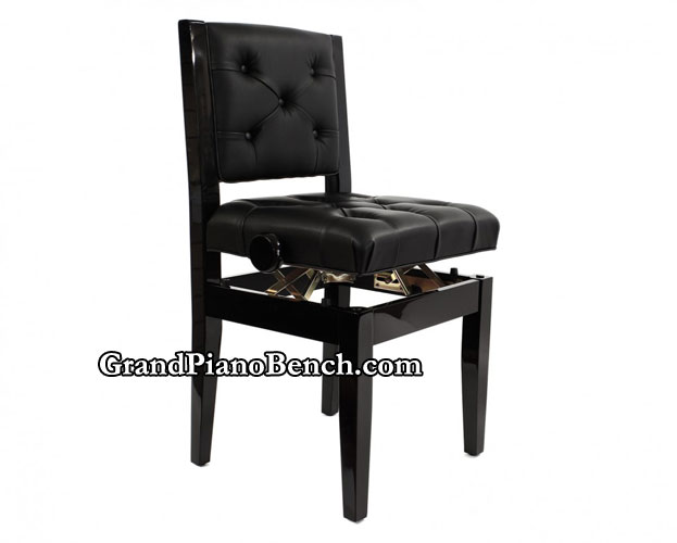 Adjustable Piano Chair With Tufted Padded Back