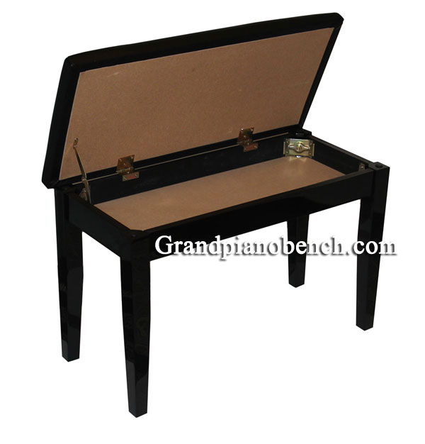 upholstered piano bench with music storage compartment