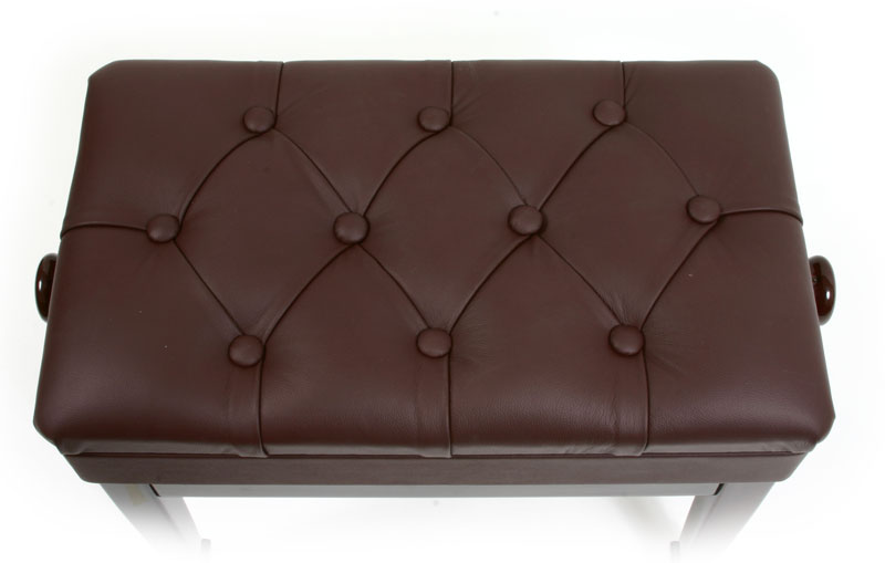 piano bench walnut leather adjustable