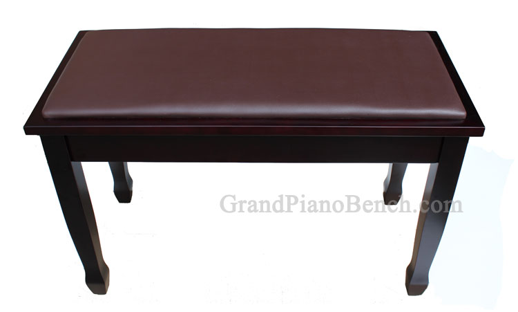 mahogany piano bench with music compartment